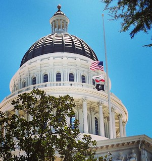 California Capitol. Half mast. #summer #nicefrance  #thoughtsandprayersarentenough #loveinthesuburbs #lovewins #enoughisenough #wearenotafraid | by SarabellaE / Sara / Love in the Suburbs