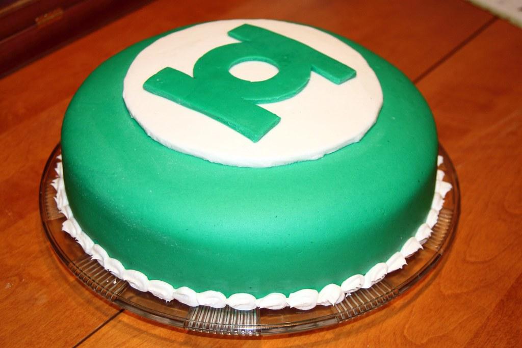 Groovy Green Lantern Cake 1 Made A Green Lantern Birthday Cake F Flickr Funny Birthday Cards Online Amentibdeldamsfinfo