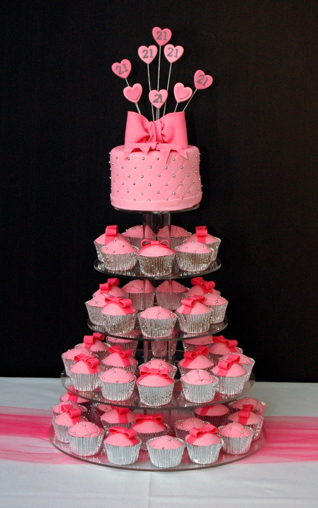 Pink 21st Birthday Tower 50 Bow And Quilted Raspberry Cupc Flickr