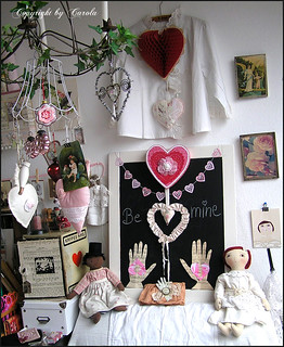 Valentine studio corner ~ wall of friendship and love! | by Boxwoodcottage