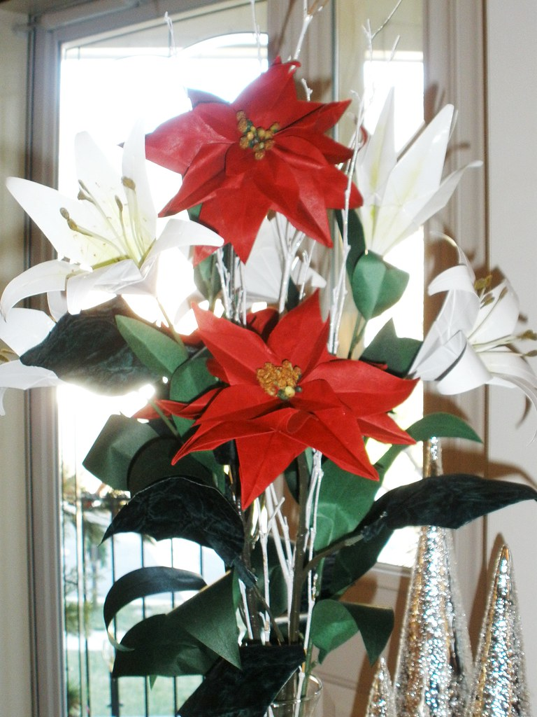 Origami christmas poinsettia bouquet of origami white lili flickr origami christmas poinsettia by janularry origami christmas poinsettia by janularry mightylinksfo
