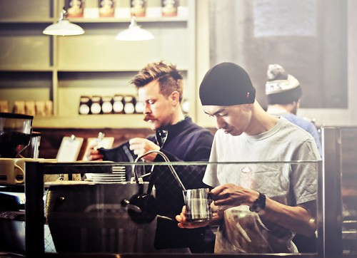 Tyler Wells and Hiroshi Sawada at Coffee Bar L.A. ~ Latte Art Fundraiser for Coffee Kids | by r.e. ~