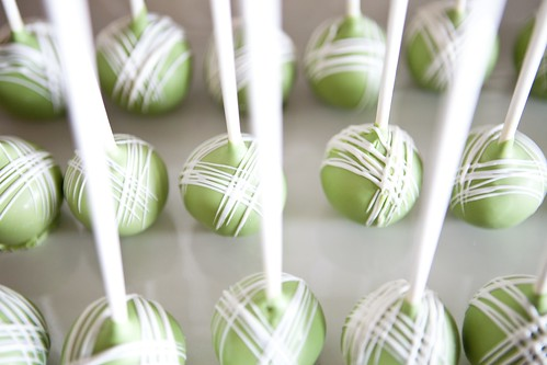 Green Cake Pops with White Fine Cross | by Sweet Lauren Cakes