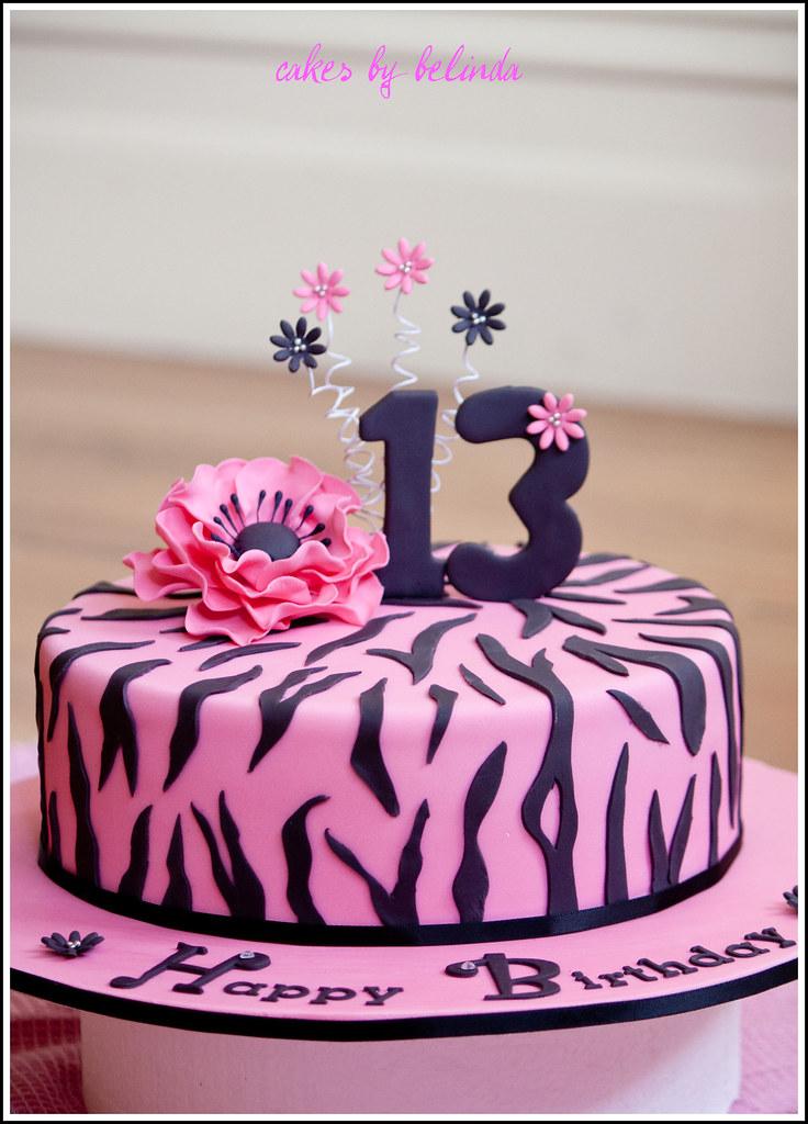 By Belinda H Zebra Print Birthday Cake