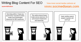 Social Media comic cartoon: Writing Blog Content For Search Engine Opimization (SEO) | by seanrnicholson