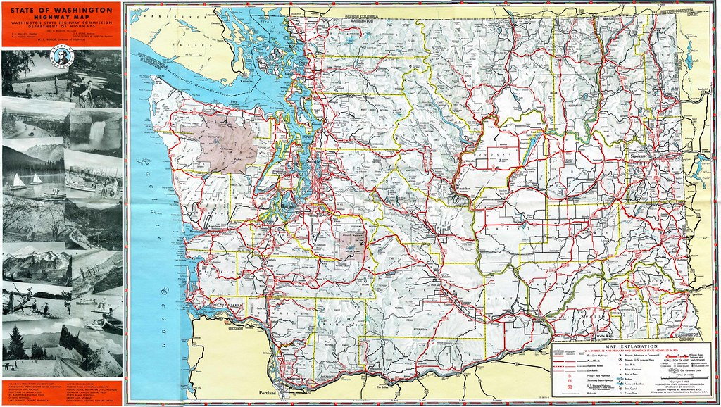 1952 Washington State Highway Map Check out more of my sca – State Road Maps