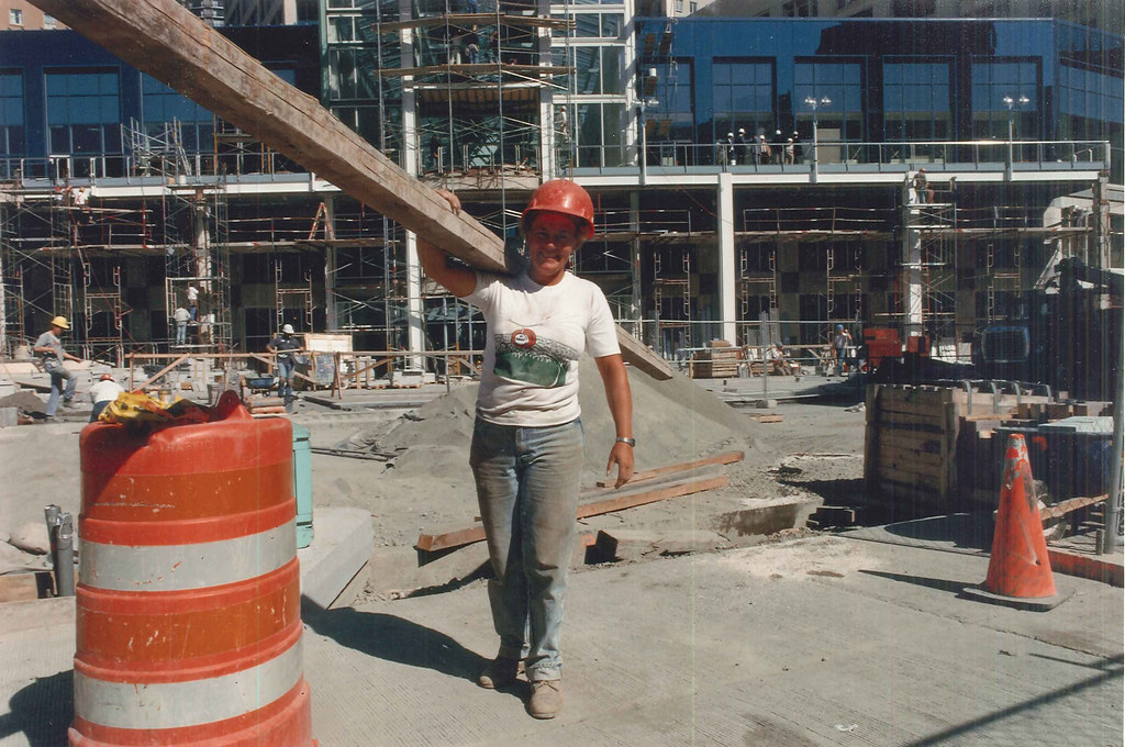 construction worker at westlake center 1988 by seattle municipal archives