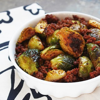 Caramelized Brussels Sprouts & Chorizo | by sevimel