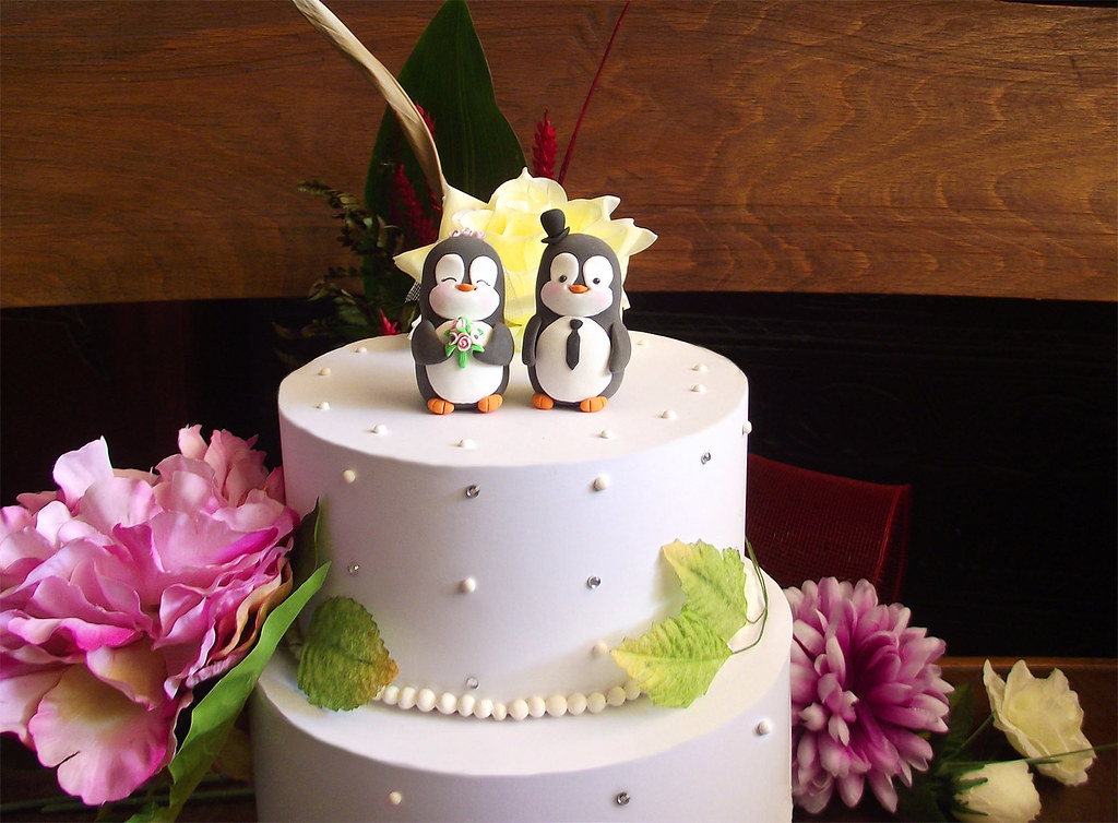 Penguin wedding cake toppers - on the cake | Unique bride an… | Flickr