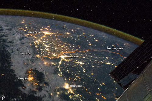 India-Pakistan Borderlands at Night | by NASA Earth Observatory