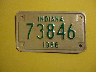 INDIANA 1986 ---MOTORCYCLE PLATE #73846 | by woody1778a