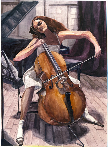 girl playing cello | original photo is the cover of Vogue ...