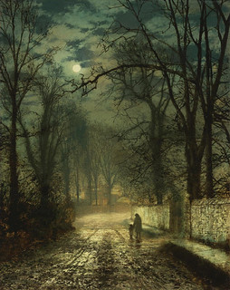 John Atkinson Grimshaw  'A Moonlit Lane' 1874 oil on card | by Plum leaves