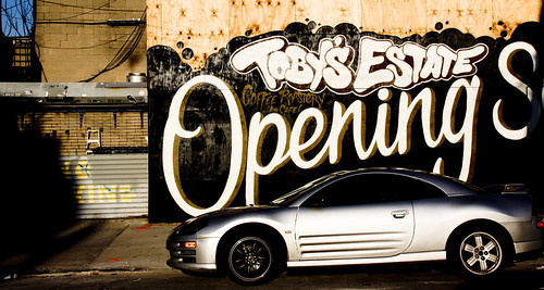 Sleek Car in front of Toby's Estate Opening Soon Graffiti - Williamsburg, Brooklyn | by ChrisGoldNY