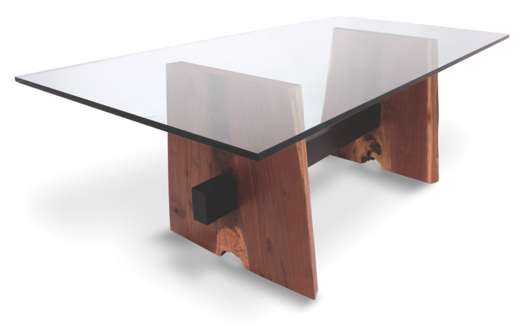Delicieux ... RotsenCustomFurniture Walnut Dining Table Glass Top   Natural Edge Wood  Base | By RotsenCustomFurniture
