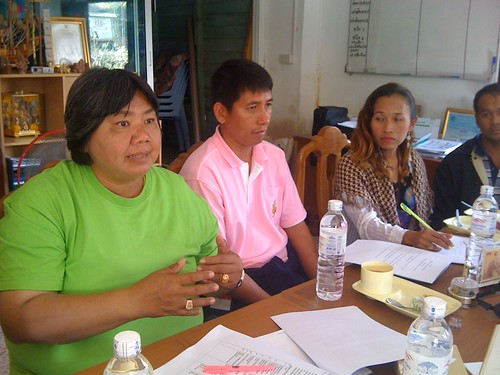Chaluay Kawaonag leads a disaster-preparedness meeting | by UN Women Gallery
