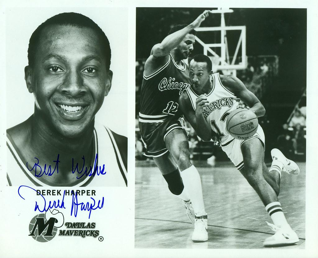 Derek Harper Dallas Mavericks Autographed 8x10