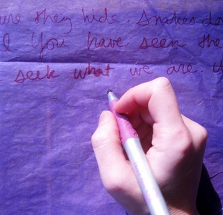 Writing on Purple Tissue | by OurLadyOfWords