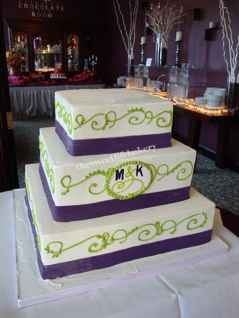 Lime Green and Purple Monogram Wedding Cake | Purple fondant… | Flickr