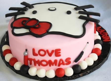 Stylin Hello Kitty Round 22th Birthday Cake Baby Back