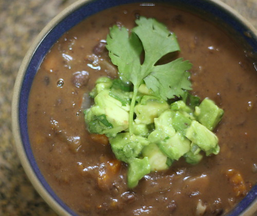 black bean soup with avocado salsa | by psrobin