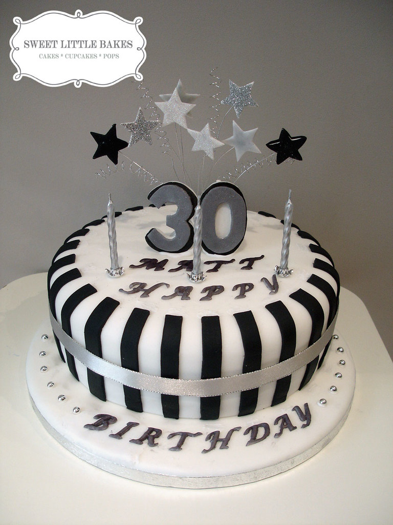 30th Birthday A Simple Black And White Cake Sweet Little Bakes