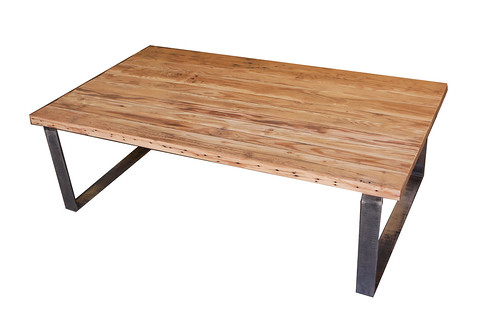 Reclaimed wood table with metal legs side since 1989 for Portland reclaimed wood furniture