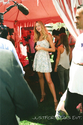 Candice Swanepoel being interviewed | by JustForSneaks Ent.