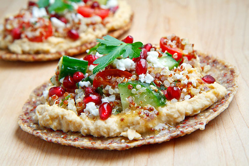 Quinoa Flatbread with Hummus, Tabbouleh, Feta and Pomegranate | by Kevin - Closet Cooking