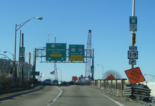 U.S. Route 1-9 Skyway and Truck split, Jersey City | by R36 Coach