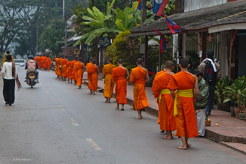 Monks during tak bak - Luang Prabang | by Phil Marion