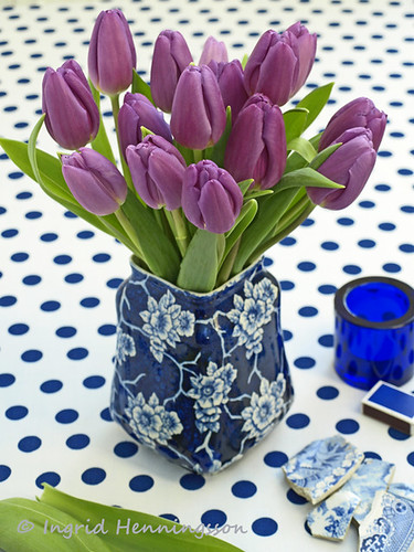 Purple Tulips and Blue Patterns | by Of Spring and Summer