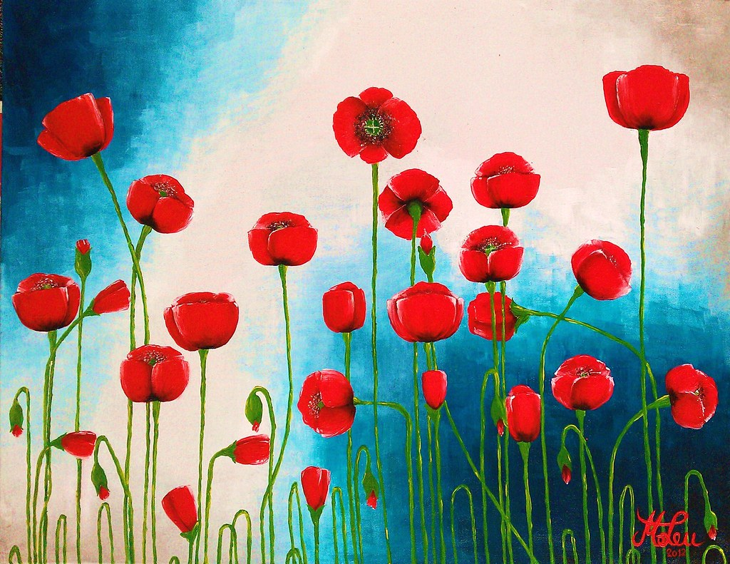 Poppies Acrylic Painting For Sale 90x70 Cm Acrylic P Flickr