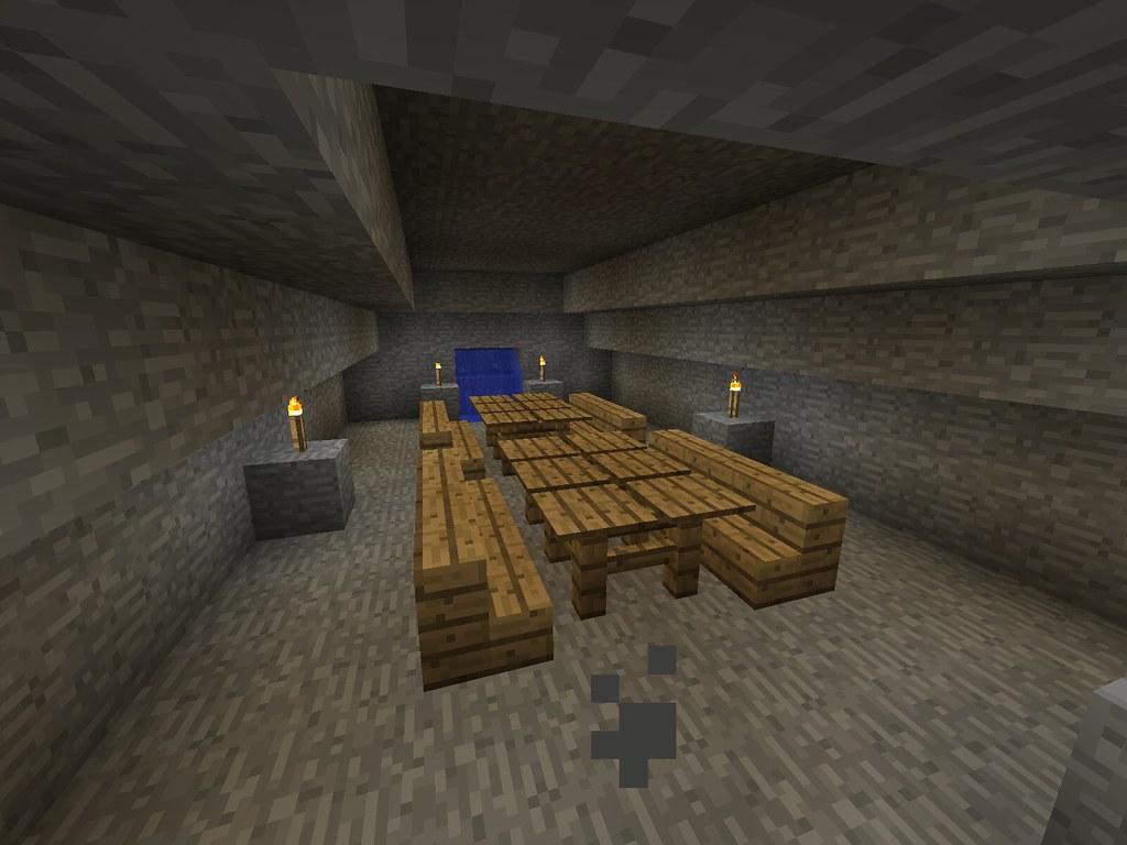 Minecraft DwarfFortress Dining Room With Waterfall