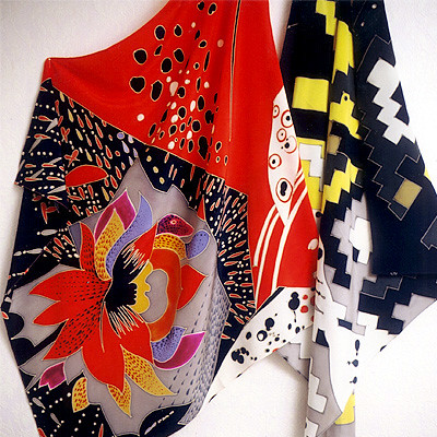 silk painted scarves from Muza Kirnizkaya | by Silk Painting Muza