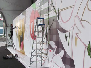 Dabs Myla at work on their 56 foot long mural at the entrance to the Affordable Art Fair LA (open Jan. 18th-22nd) | by thinkspace_gallery