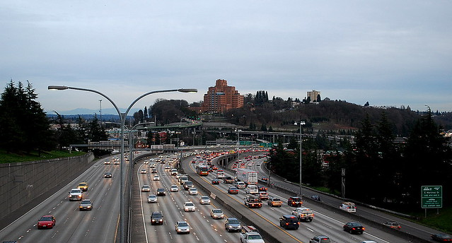Autopia Seattle:  Beacon Hill and Interstate 5 as Seen From the Yesler Way Bridge,  5:00 p.m. 01.31.12