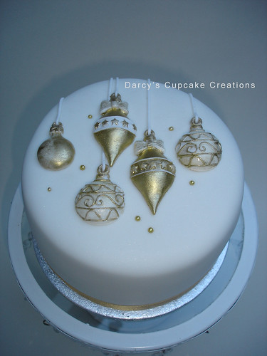 Gold Decoration On Cake : gold & white bauble cake Darcy s Cupcake Creations Flickr