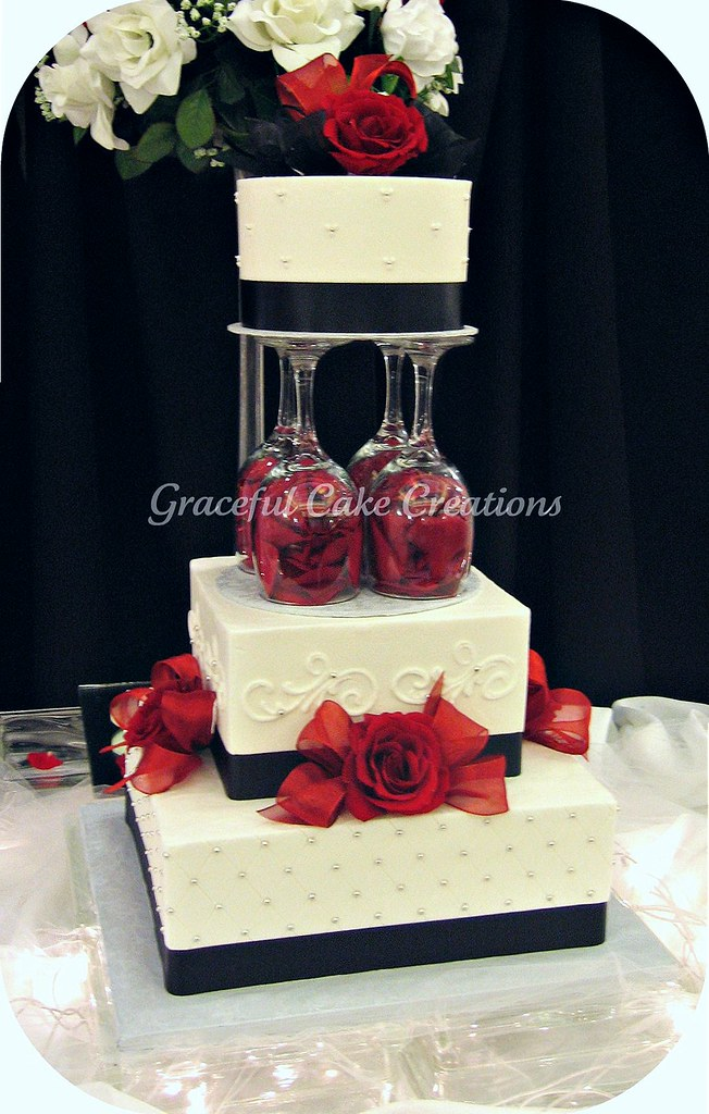 Elegant White, Black and Red Wedding Cake | Grace Tari | Flickr