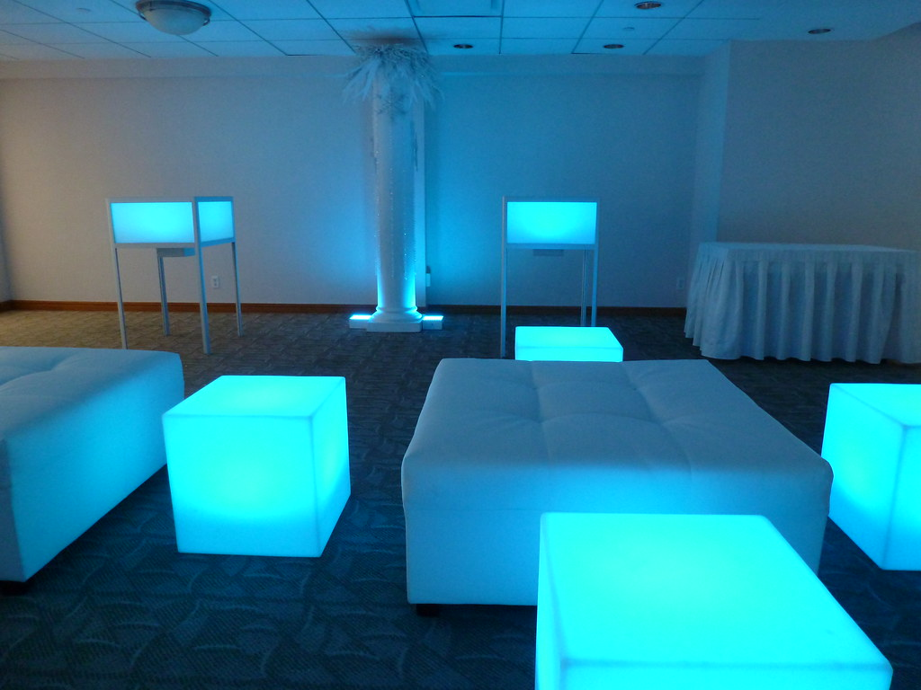 Glow Tables winter theme company party with glow-cubes, and glow-table…   flickr