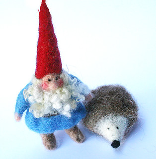 gnome and pet hedgehog | by Textile Art/Needle Felting