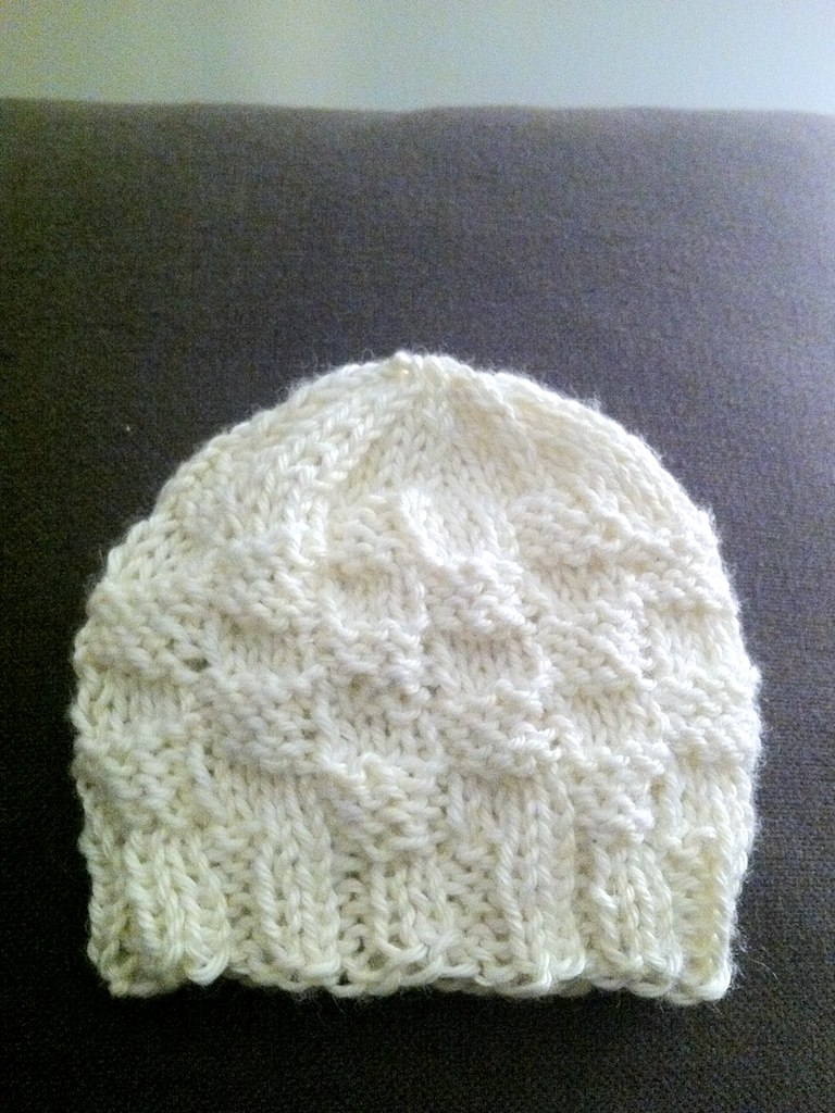 ... Hand Knit  Basketweave Baby Hat  53eb2a0d595
