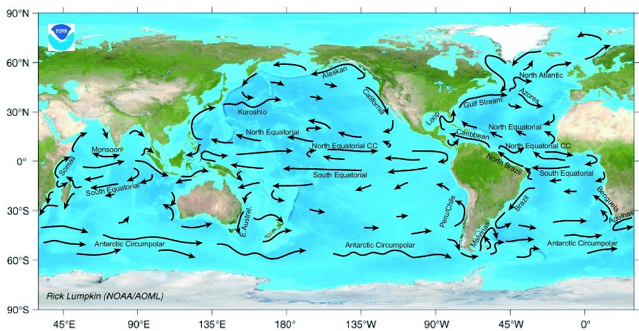 Ocean surface current map map of major ocean surface curre flickr scrippsoceanography ocean surface current map by scrippsoceanography gumiabroncs Gallery