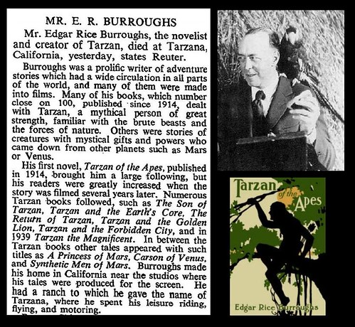 19th March 1950 - Death of Edgar Rice Burroughs | by Bradford Timeline