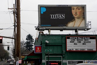 "Billboard for Titian exhibit (of one painting, ""La Bella"") at the Portland Art Museum 