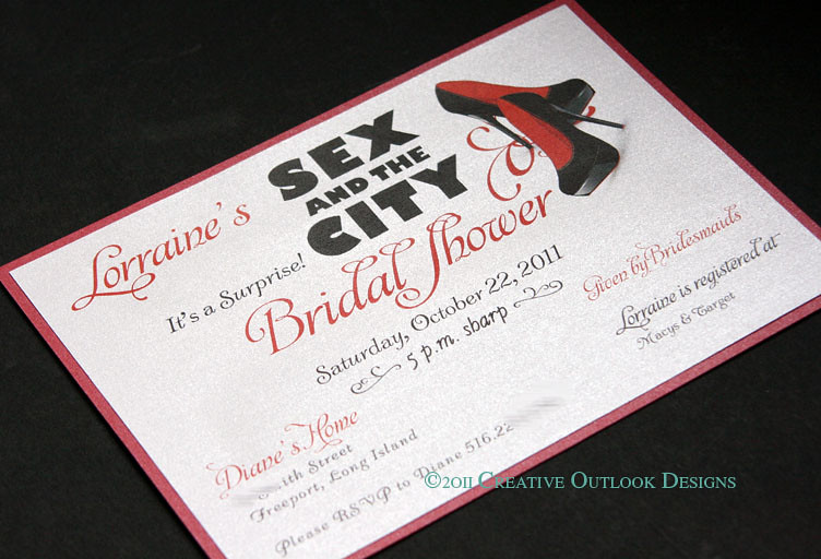 creativeoutlookdesigns sex in the city theme shower invitation by creativeoutlookdesigns
