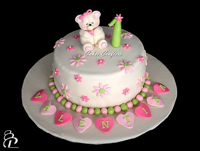 Girl First Birthday Cake With Fondant Teddy Bear Inspired Flickr