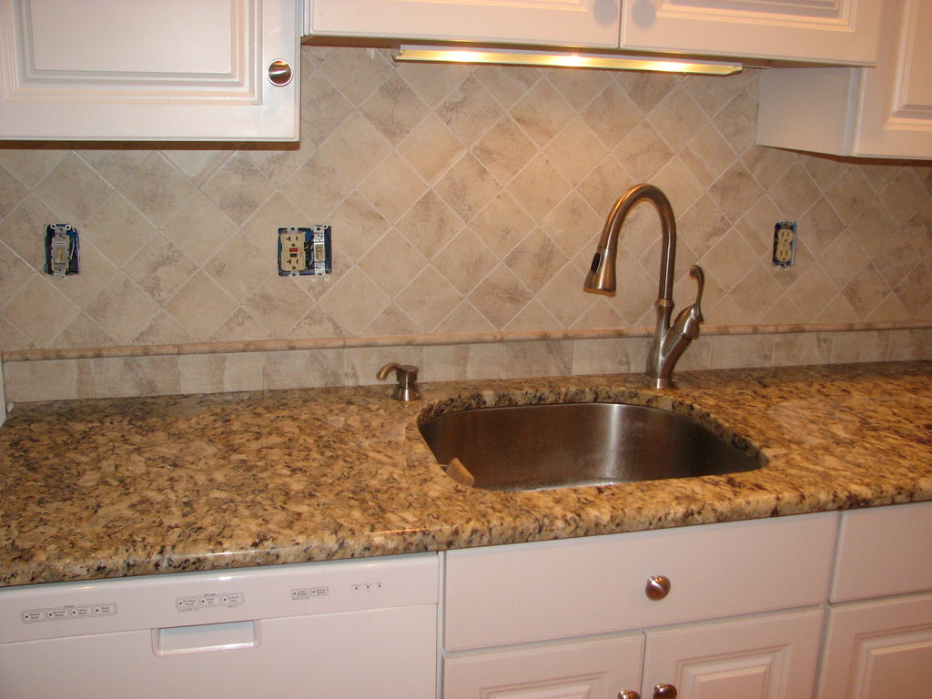 ceramic tile backsplash with travertine pencil tile-haddon… | Flickr