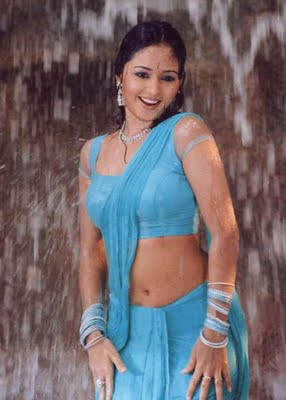 Malayalam Actress Gajala Navel Wet In Blue Saree