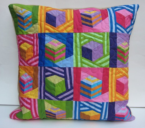 Modern Patchwork Pillow : Tumbling Blocks Patchwork Pillow A modern interpretation o? Flickr
